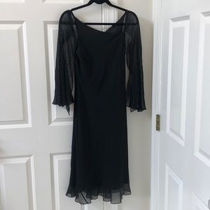 Maggy London black silk dress with faux sleeves